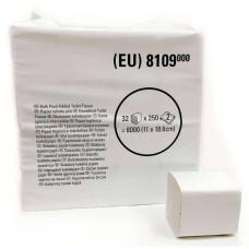 Туалетная бумага Hostess Slimfold в пачках, 250 листов, 11 х 18,6 х 9,5 см, 2 слоя (32 шт/упак), арт. 8109