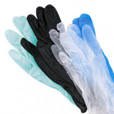 Перчатки виниловые одноразовые цветные 80 мкр, размер M,  (100 шт/упак), арт. 11117