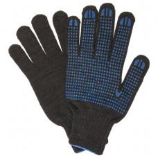 Перчатки хлопчатобумажные, КОМПЛЕКТ 5 ПАР, 7 класс, 33 г, 216 текс, ПВХ-точка, ЛАЙМА ПРОФИ XL, черные, 604473