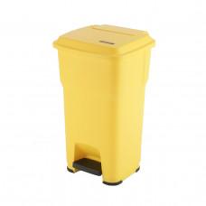 Контейнер Vileda ГЕРА с педалью и крышкой 85 л, желтый, с наклейками для сортировки, арт.137760