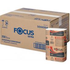 Полотенца бумажные листовые FOCUS Extra, Z-сложения, 250 листов, 1 слой, 24*21,5 см (12 шт/упак), арт. 5044994