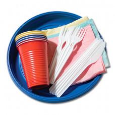 Набор одноразовой посуды № 1 на 6 персон (тарелка десертная 175 мм, стакан 200 мл, вилка, салфетка, нож) (50 шт/упак)