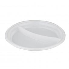 Тарелка одноразовая 205 мм 2 секции (100 шт/уп)