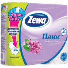 Туалетная бумага «Zewa Плюс» 4 рул., 2-х сл., с сиреневым тиснением. Сирень, арт. 2149