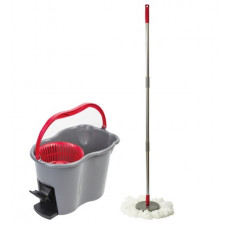 Набор для уборки ЛАЙМА, ведро 7 л с отжимом и педалью, швабра с круглой насадкой (2 шт., кольцо), 603622