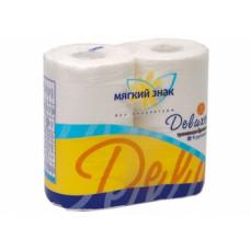 Туалетная бумага «Мягкий знак» «Delux» 4шт., 2-сл. Белая, арт. 2388