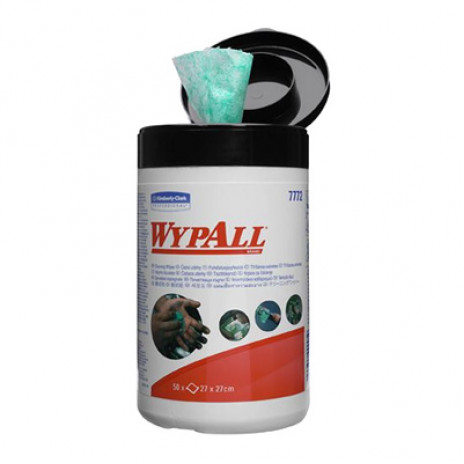 Влажные салфетки в малой тубе Wypall Cleaning Wipes, 50 листов 27х27 см, арт. 7772, Kimberly-Clark