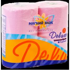 Туалетная бумага «Мягкий знак» «Delux» 4шт., 2-сл. Розовая, арт. 2428