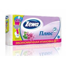 Туалетная бумага «Zewa Плюс» 8 рул., 2-х сл., Сирень, белая с сиреневым тиснением, арт. 2653