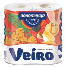 Полотенца бумажные «Linia Veiro» Домашние 2сл., 2, белые 100% целлюлоза 3П22  (12 шт/упак), арт. 3242