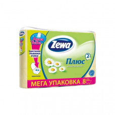 Туалетная бумага «Zewa Плюс» 8 рул., 2-х сл., Ромашка, желтая, арт. 1419