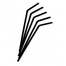 Трубочки для коктейля с изгибом черные 5*210 мм (250 шт/уп)