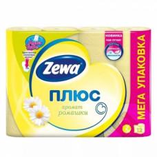 Туалетная бумага «Zewa Плюс» 12 рул., 2-х сл., Ромашка, желтая, арт. 2714