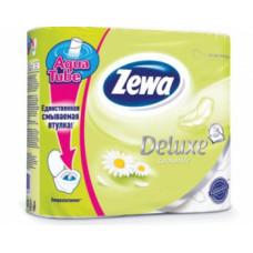 Туалетная бумага «Zewa Delux» 4 рул., 3-х сл., белая. Ромашка., арт. 2141