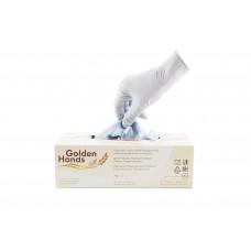 Одноразовые нитриловые перчатки Golden Hands с коллоидной овсяной мукой, светло-голубой, 3,5 гр,  (200 шт/упак)