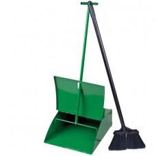 Совок для мусора металлический с крышкой + щетка с металлической ручкой 75 см. (набор для подметания), СОВ 079