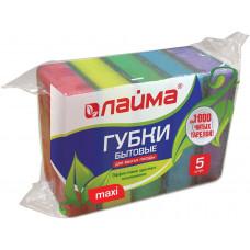 Губки бытовые для мытья посуды ЛАЙМА, комплект 5 шт., чистящий слой (абразив), 2,7х9,6х6,4 см, 601554
