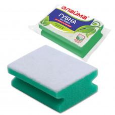 Губка бытовая для уборки, чистящий слой для деликатных поверхностей, профильная, высота 48 х ширина 120 х глубина 86 мм, ЛАЙМА, 601556