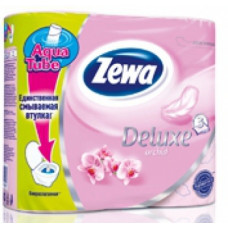 Туалетная бумага «Zewa Delux» 4 рул., 3-х сл., Розовая.    Орхидея., арт. 2144