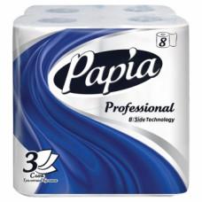 Туалетная бумага «Papia» Professional, 8 шт, 3 слоя, белая, ультрамягкая 100% целлюлоза, упак, арт. 3117