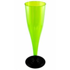 Фужер одноразовый для шампанского 170 мл зеленый/черная ножка ПС (6 шт/упак)