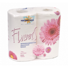 Туалетная бумага «Мягкий знак» «Flowers» 4шт., 2-сл. АРОМА Цветы белые, арт. 2438
