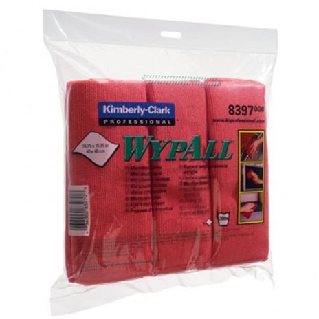 Салфетки из микрофибры Wypall Microfibre Cloth, 40 х 40 см, красные (6 шт/упак), арт. 8397, Kimberly-Clark