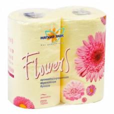 Туалетная бумага «Мягкий знак» «Flowers» 4шт., 2-сл. АРОМА Цветы желтые, арт. 1442