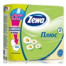 Туалетная бумага «Zewa Плюс» 4 рул., 2-х сл., желтая. Ромашка, арт. 1133