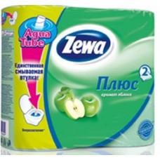 Туалетная бумага «Zewa Плюс» 4 рул., 2-х сл., зеленая.  Яблоко, арт. 1134