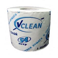 Туалетная бумага VCLEAN, в стандартных рулонах, 9 см х 54 м, 1 слой, арт. A-0271