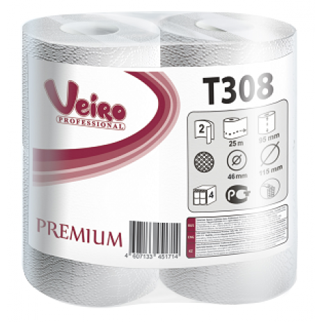 Туалетная бумага Veiro Professional Premium в стандартных рулонах, 200 листов 9,5 x 12,5 см, 2 слоя (8 шт/упак), арт. 308 T, Veiro Professional