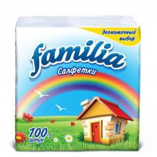 Салфетки бумажные Familia 24х23см,  100 шт., 2 слоя (24 шт/упак), арт. 5039302/000556