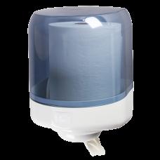 Диспенсер Lime для бумажных полотенец с центральной вытяжкой MAXI (350м), с дозатором, белый+прозрачный, арт. A58161S