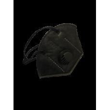 Маска-респиратор защитная KN95 (5 слоев), с клапаном, черный, арт. KN95