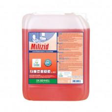 MILIZID SHINE 10 л, трехфазное фазное кислотное средство для очистки санитарных зон с эффектом блеска