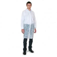 Халат процедурный белый (рукава на резинках), 110см*100,  (10 шт/упак), арт. 110*100/10R