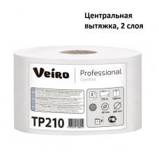 Бумага туалетная в средних рулонах с центральной вытяжкой, Veiro Professional Comfort, 2-сл, 215 м, белая (6 рул/упак), арт. 210 TP