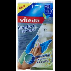 Перчатки Vileda Комфорт с кремом для чувствительной кожи рук M, 1 пара, арт. 146263