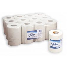 Бумажные полотенца в рулонах с центральной вытяжкой Терес Комфорт 1-слой, mini, 120 м, белая целлюлоза, тиснение (12 шт/упак), арт. Т-0130