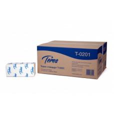 Бумажные полотенца листовые Терес Стандарт 1-слой, 200 листов, белая целлюлоза, тиснение (V / ZZ-сложение) (20 шт/упак), арт. Т-0201