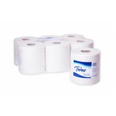 Бумажные полотенца в рулонах с центральной вытяжкой Терес Эконом 2-слоя, midi, 180 м, макулатура/целлюлоза, цвет светло-серый, тиснение (6 шт/упак), арт. Т-0165