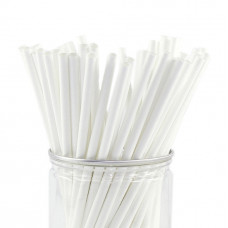 Трубочки для коктейлей 197 мм белые (250 шт/уп)