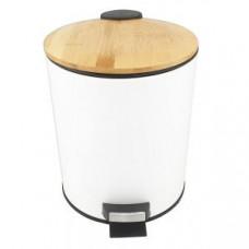 Klimi 1555-11 Педальная урна из нержавеющей стали с деревянной крышкой / 5 л