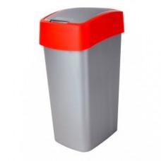217818 Корзина для мусора с крышкой-качель CURVER FLIP BIN 50 L / красный / серебро