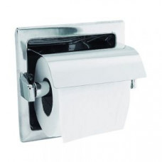NOFER 05007.S Держатель для 1 рулона туалетной бумаги с крышкой встраиваемый квадратный из нерж. стали матовый, арт. 05007.S