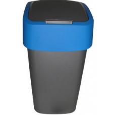 Корзина для мусора с откидной крышкой CURVER FLIP BIN 25L серебро+синий / 217817