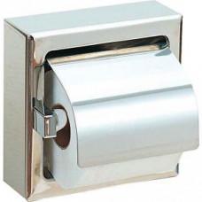 NOFER 05007.B Держатель для 1 рулона туалетной бумаги с крышкой встраиваемый квадратный из нерж. стали глянцевый, арт. 05007.B