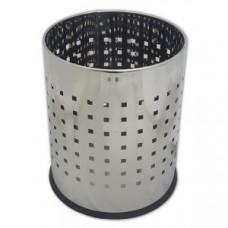 Металлическая офисная корзина для бумаг с перфорацией / хром 5 л / Klimi 405-11, арт. 405-11