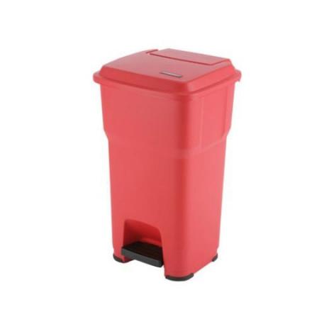 Контейнер Vileda ГЕРА с педалью и крышкой 85 л, красный, с наклейками для сортировки, арт.137758, Vileda Professional